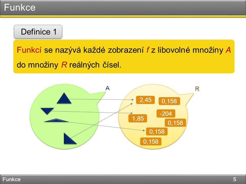 Funkce Funkce 5 Funkcí se nazývá každé zobrazení f z libovolné množiny A do množiny R reálných čísel.