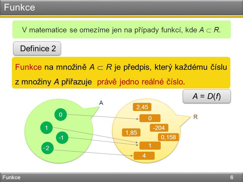Funkce Funkce 6 V matematice se omezíme jen na případy funkcí, kde A  R.