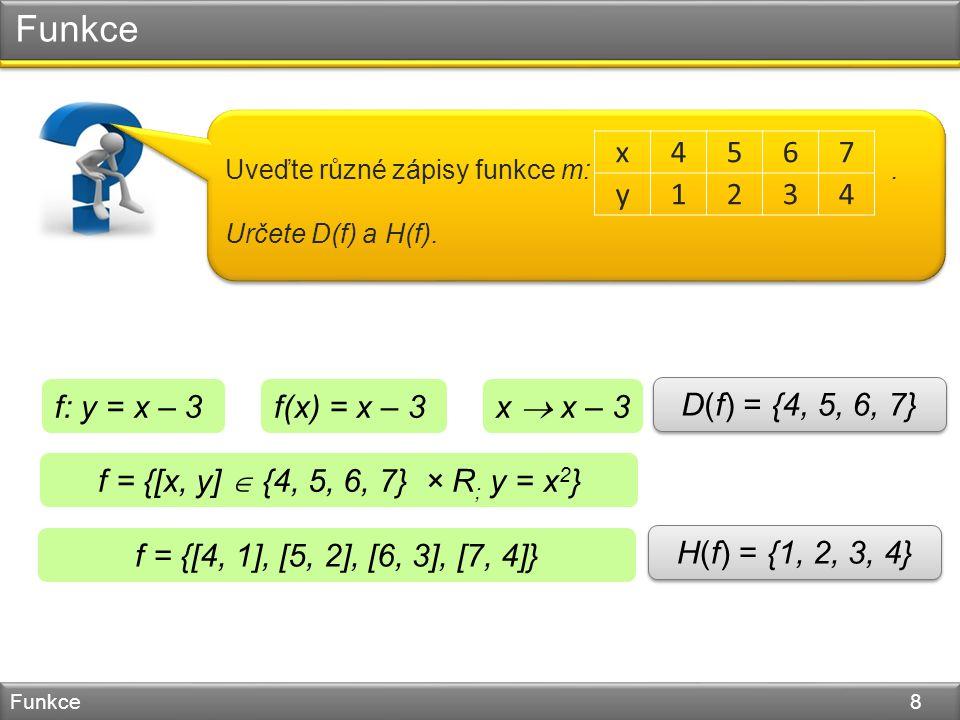 Funkce Funkce 8 Uveďte různé zápisy funkce m:. Určete D(f) a H(f).