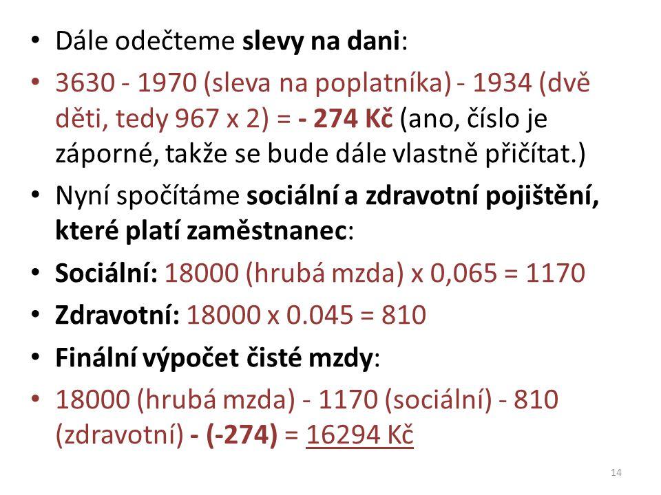 Dále odečteme slevy na dani: 3630 - 1970 (sleva na poplatníka) - 1934 (dvě děti, tedy 967 x 2) = - 274 Kč (ano, číslo je záporné, takže se bude dále v