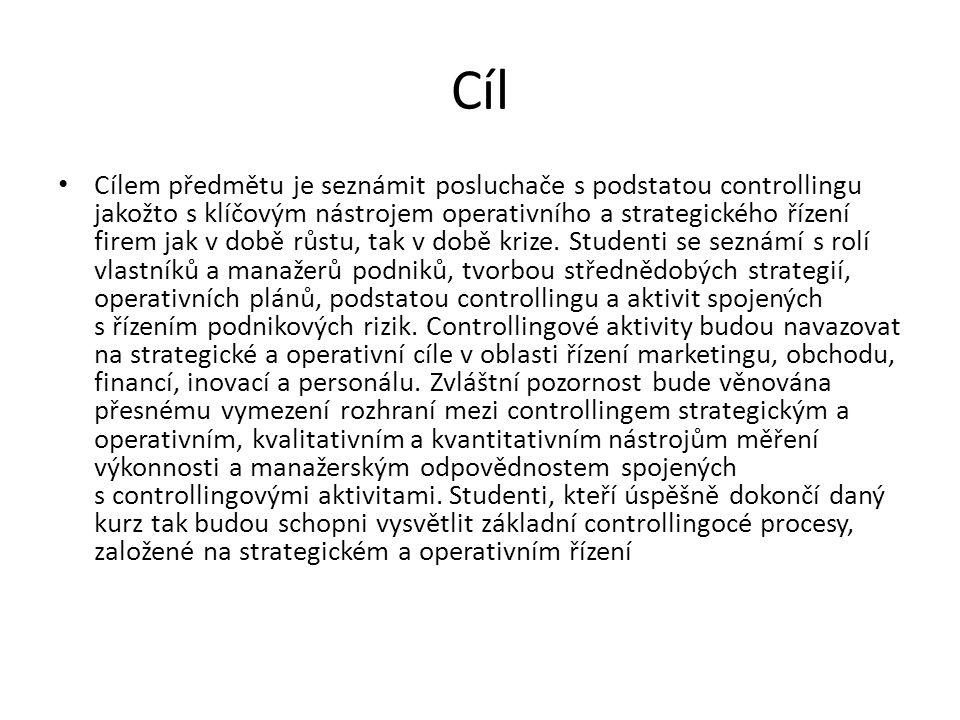 Literatura povinná literatura HAVLÍČEK, Karel.Management & controlling malé a střední firmy.
