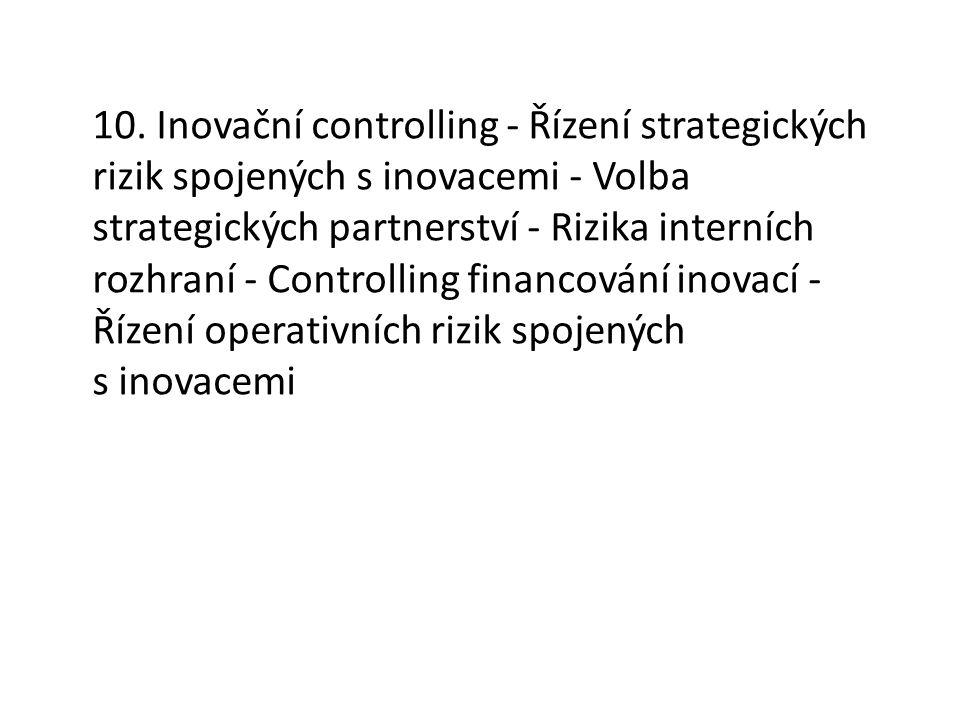 10. Inovační controlling - Řízení strategických rizik spojených s inovacemi - Volba strategických partnerství - Rizika interních rozhraní - Controllin