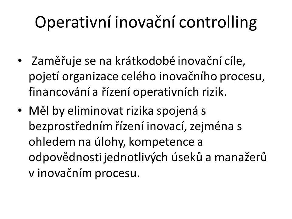 Operativní inovační controlling Zaměřuje se na krátkodobé inovační cíle, pojetí organizace celého inovačního procesu, financování a řízení operativních rizik.
