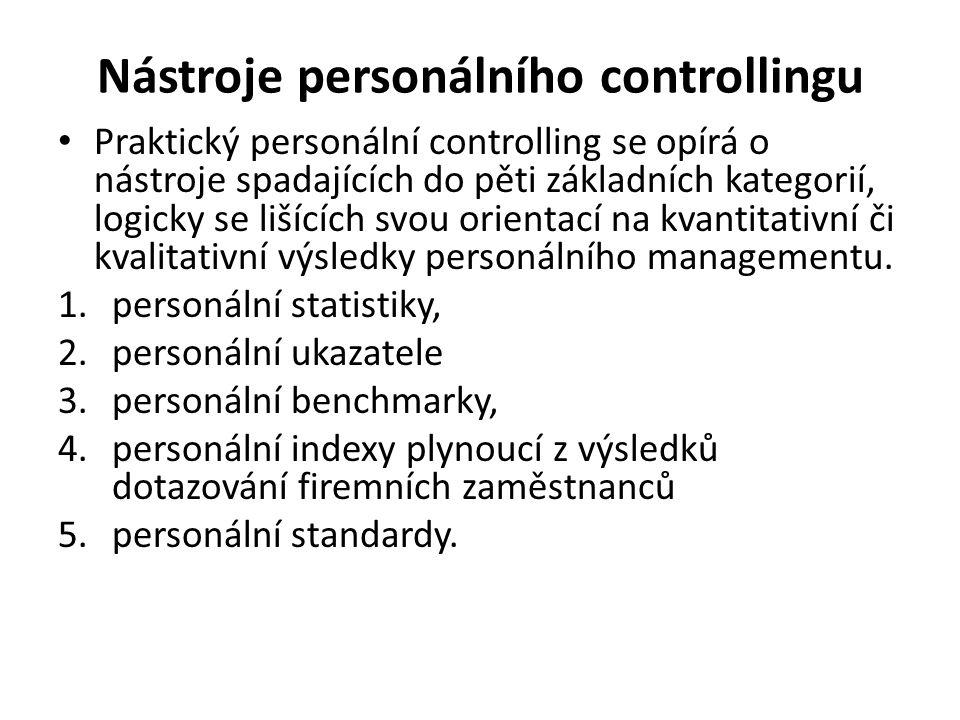 Nástroje personálního controllingu Praktický personální controlling se opírá o nástroje spadajících do pěti základních kategorií, logicky se lišících svou orientací na kvantitativní či kvalitativní výsledky personálního managementu.