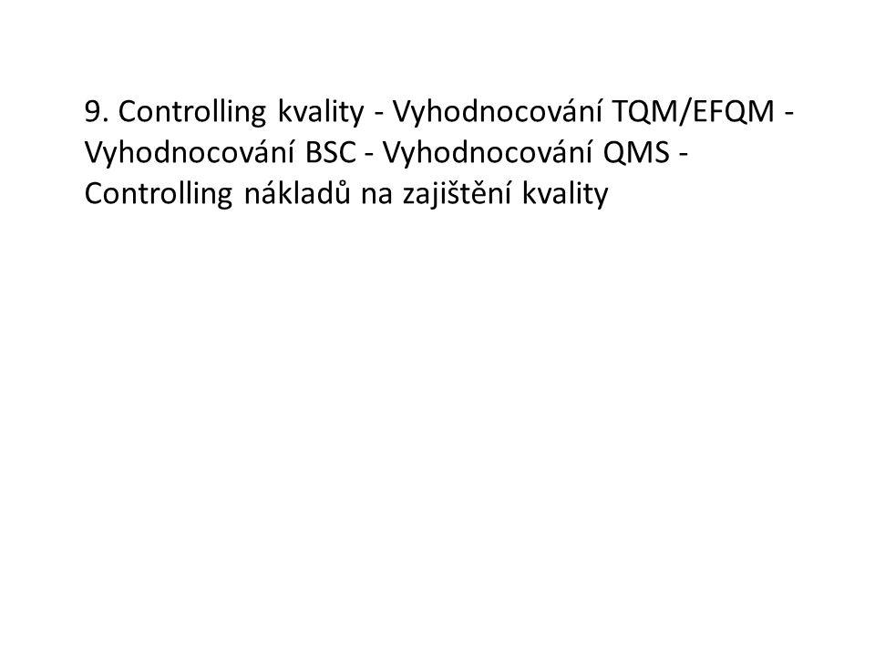 9. Controlling kvality - Vyhodnocování TQM/EFQM - Vyhodnocování BSC - Vyhodnocování QMS - Controlling nákladů na zajištění kvality
