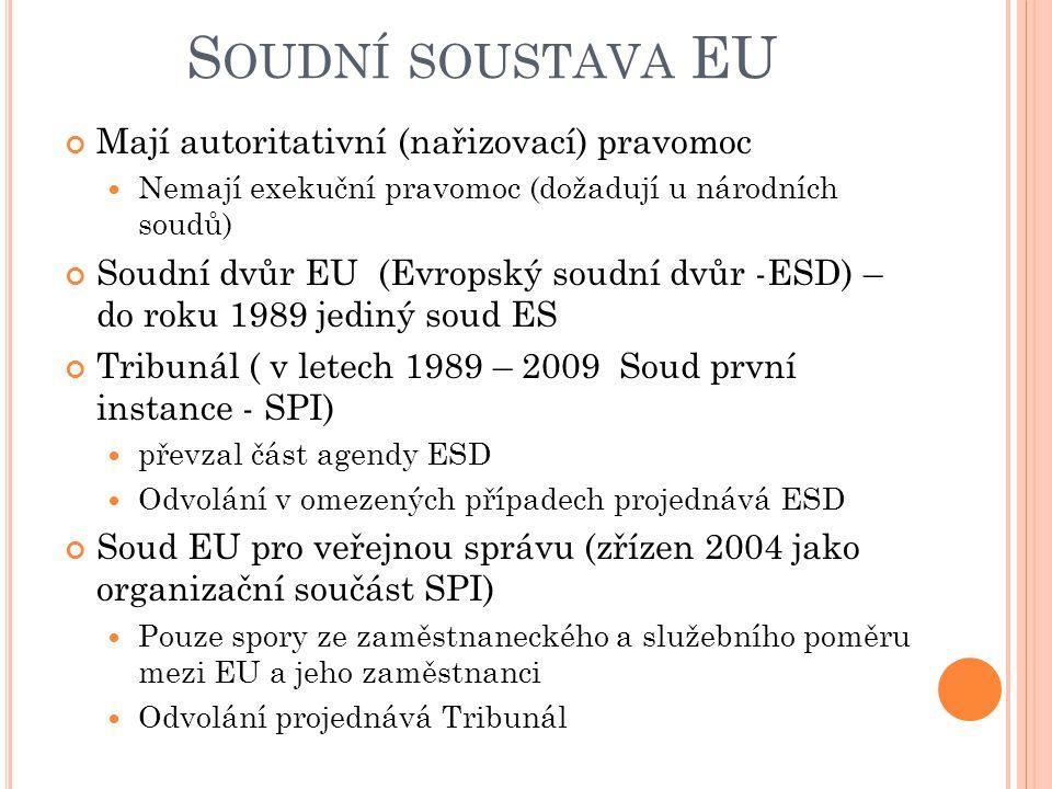 S OUDNÍ SOUSTAVA EU Mají autoritativní (nařizovací) pravomoc Nemají exekuční pravomoc (dožadují u národních soudů) Soudní dvůr EU (Evropský soudní dvůr -ESD) – do roku 1989 jediný soud ES Tribunál ( v letech 1989 – 2009 Soud první instance - SPI) převzal část agendy ESD Odvolání v omezených případech projednává ESD Soud EU pro veřejnou správu (zřízen 2004 jako organizační součást SPI) Pouze spory ze zaměstnaneckého a služebního poměru mezi EU a jeho zaměstnanci Odvolání projednává Tribunál