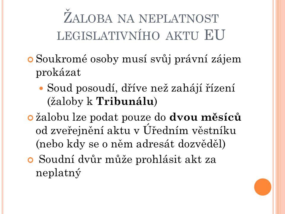 Ž ALOBA NA NEPLATNOST LEGISLATIVNÍHO AKTU EU Soukromé osoby musí svůj právní zájem prokázat Soud posoudí, dříve než zahájí řízení (žaloby k Tribunálu