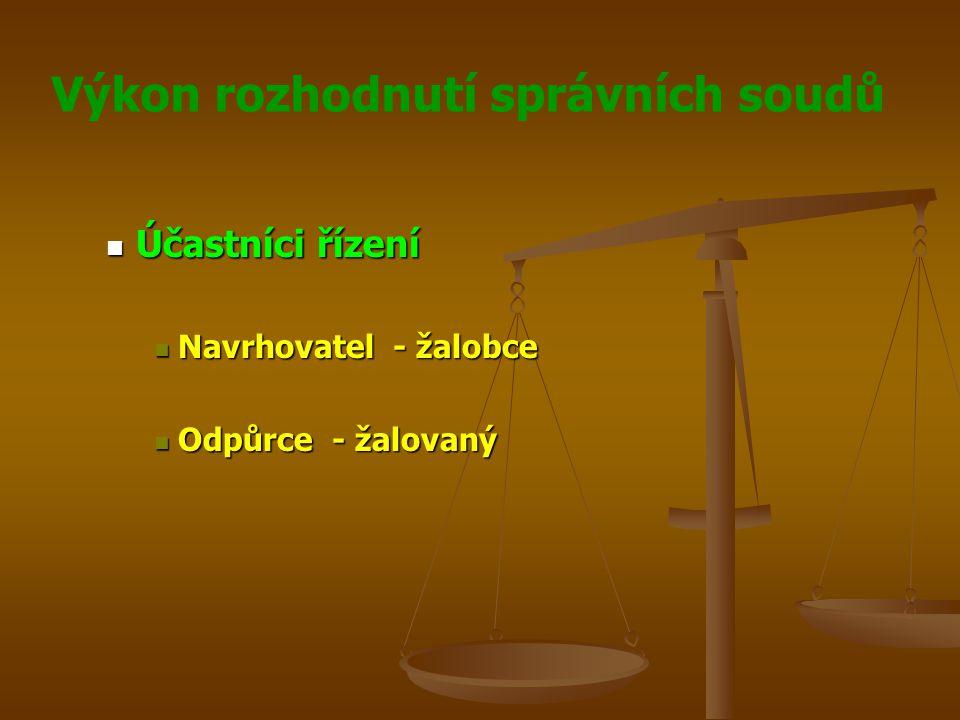 Výkon rozhodnutí správních soudů Účastníci řízení Účastníci řízení Navrhovatel - žalobce Navrhovatel - žalobce Odpůrce - žalovaný Odpůrce - žalovaný