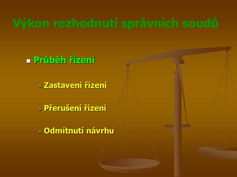 Výkon rozhodnutí správních soudů Průběh řízení Průběh řízení Zastavení řízení Zastavení řízení Přerušení řízení Přerušení řízení Odmítnutí návrhu Odmí