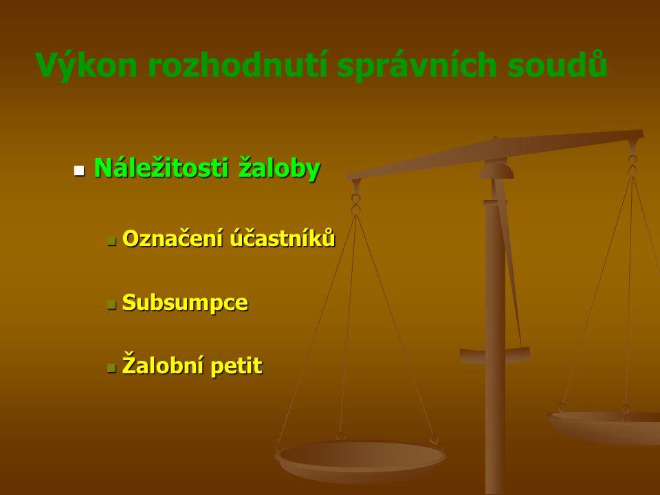 Výkon rozhodnutí správních soudů Náležitosti žaloby Náležitosti žaloby Označení účastníků Označení účastníků Subsumpce Subsumpce Žalobní petit Žalobní