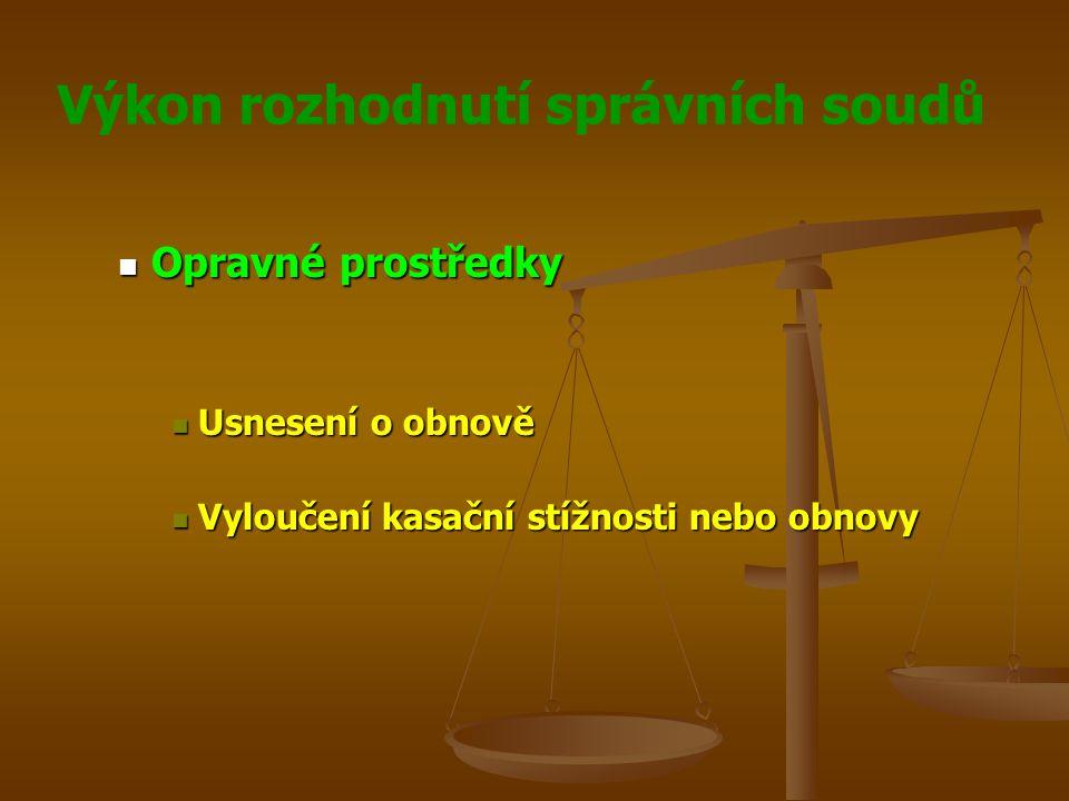 Výkon rozhodnutí správních soudů Opravné prostředky Opravné prostředky Usnesení o obnově Usnesení o obnově Vyloučení kasační stížnosti nebo obnovy Vyl