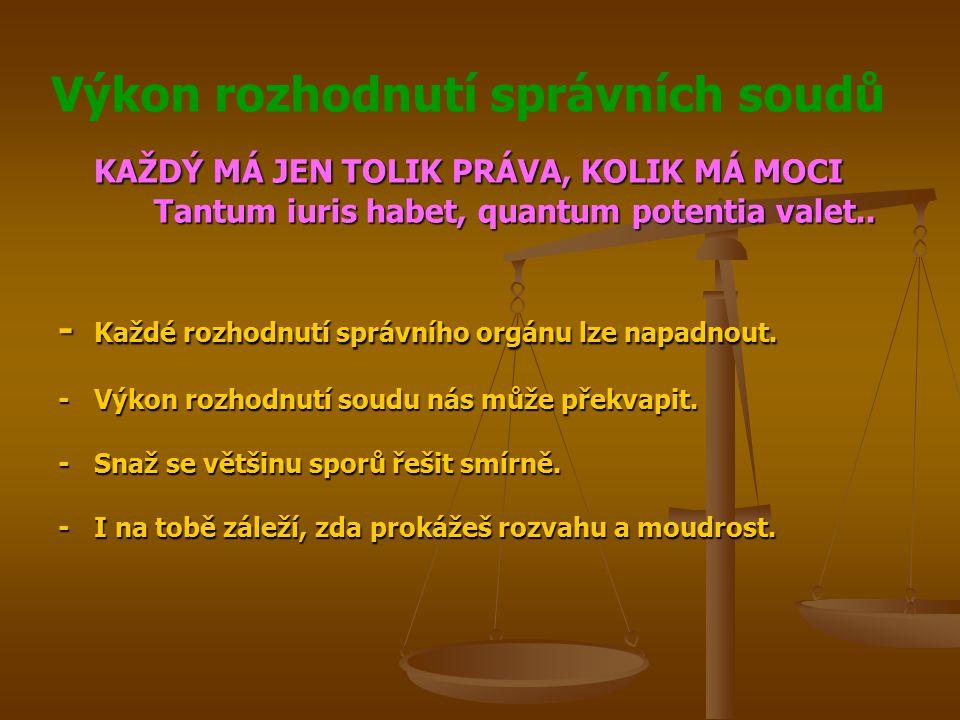 Výkon rozhodnutí správních soudů KAŽDÝ MÁ JEN TOLIK PRÁVA, KOLIK MÁ MOCI Tantum iuris habet, quantum potentia valet.. - Každé rozhodnutí správního org