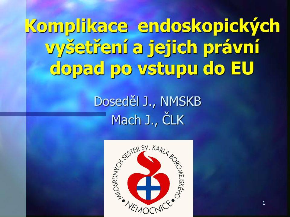 1 Komplikace endoskopických vyšetření a jejich právní dopad po vstupu do EU Doseděl J., NMSKB Mach J., ČLK