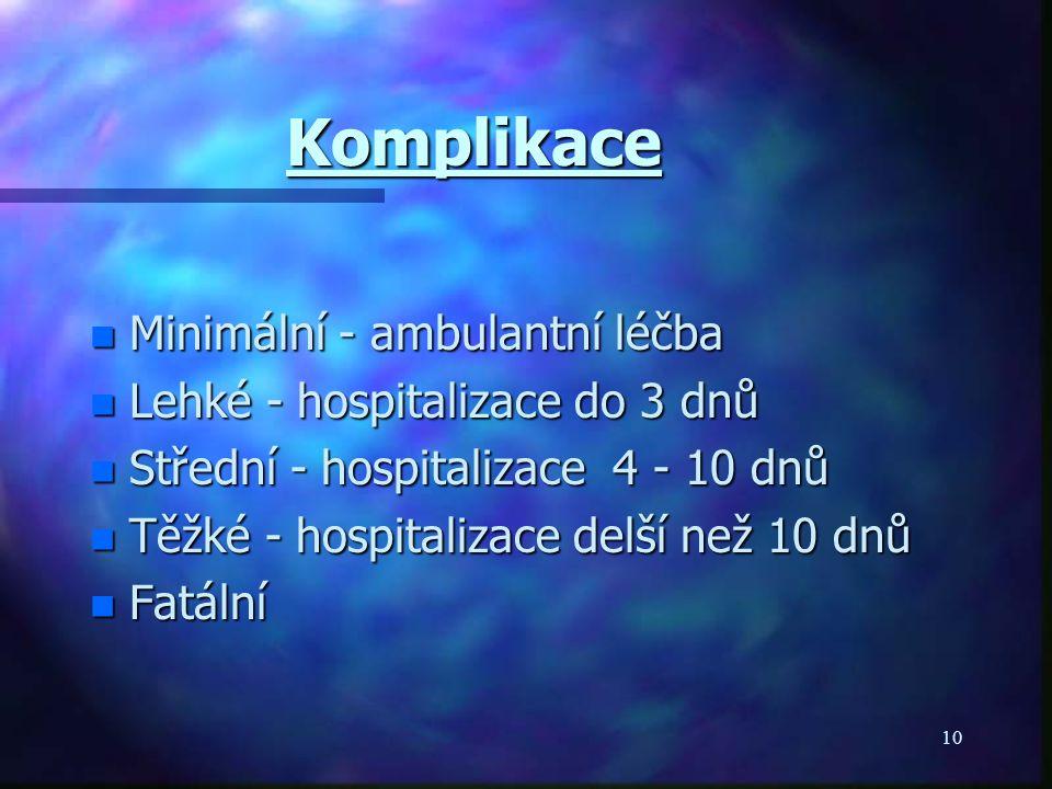 10 Komplikace n Minimální - ambulantní léčba n Lehké - hospitalizace do 3 dnů n Střední - hospitalizace 4 - 10 dnů n Těžké - hospitalizace delší než 10 dnů n Fatální