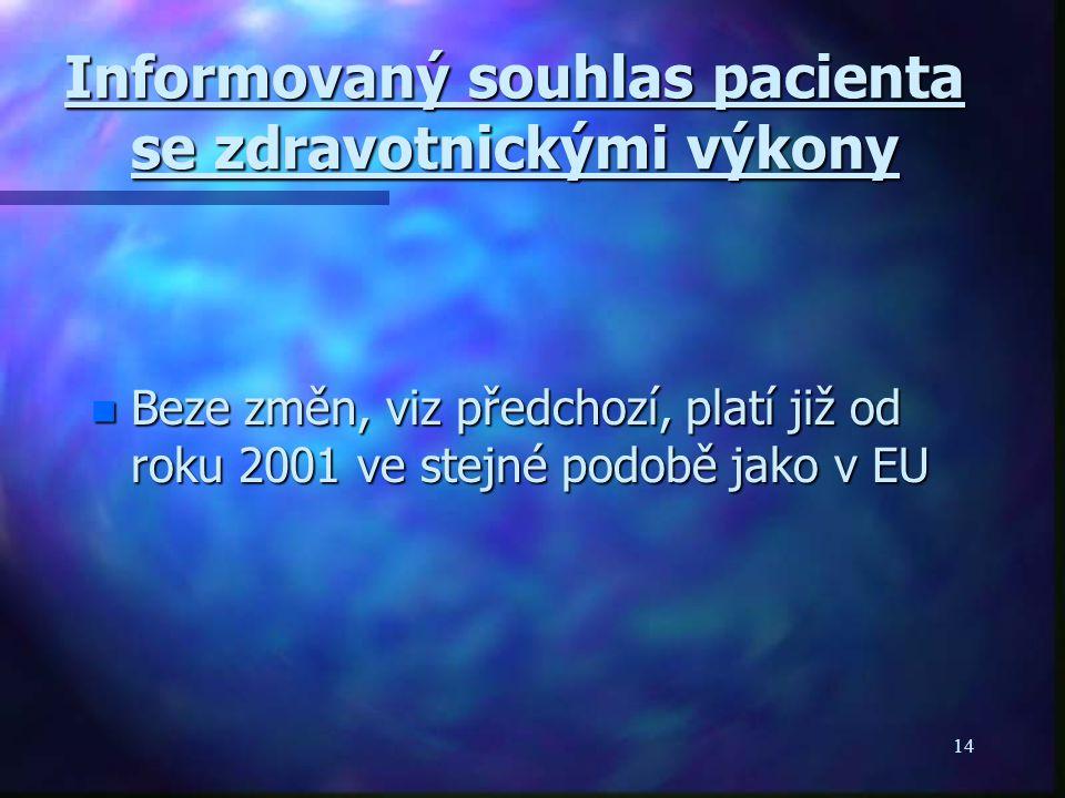 14 Informovaný souhlas pacienta se zdravotnickými výkony n Beze změn, viz předchozí, platí již od roku 2001 ve stejné podobě jako v EU