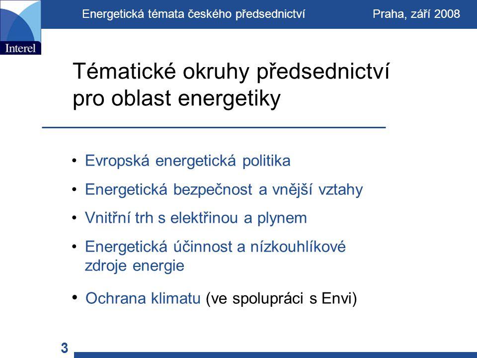 Evropská energetická politika Energetická bezpečnost a vnější vztahy Vnitřní trh s elektřinou a plynem Energetická účinnost a nízkouhlíkové zdroje energie Ochrana klimatu (ve spolupráci s Envi) Tématické okruhy předsednictví pro oblast energetiky Energetická témata českého předsednictví Praha, září 2008 3