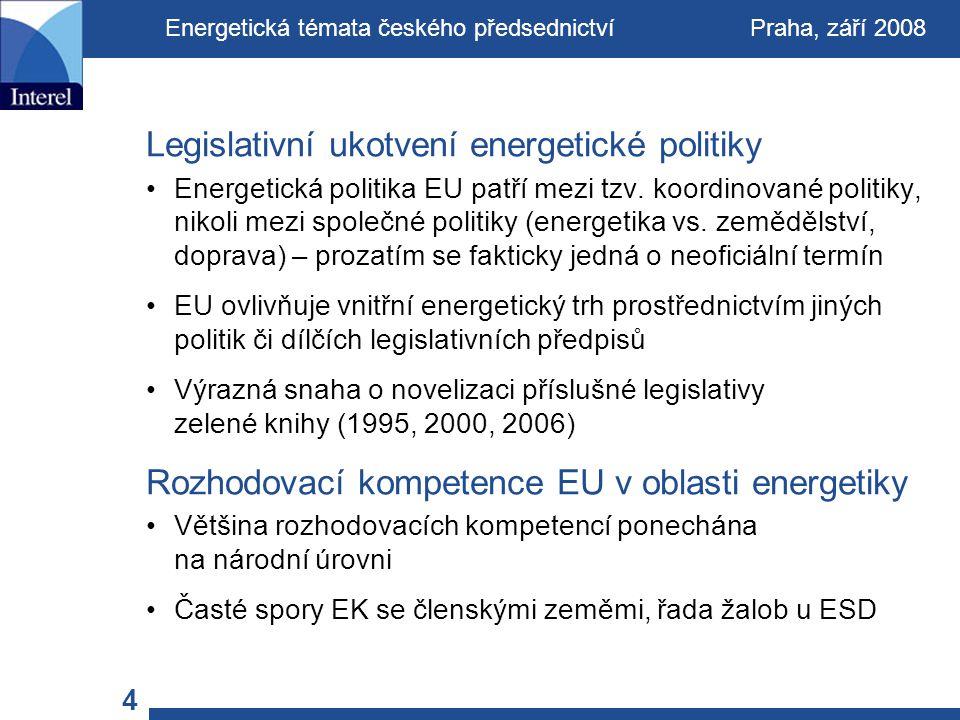 4 Legislativní ukotvení energetické politiky Energetická politika EU patří mezi tzv.