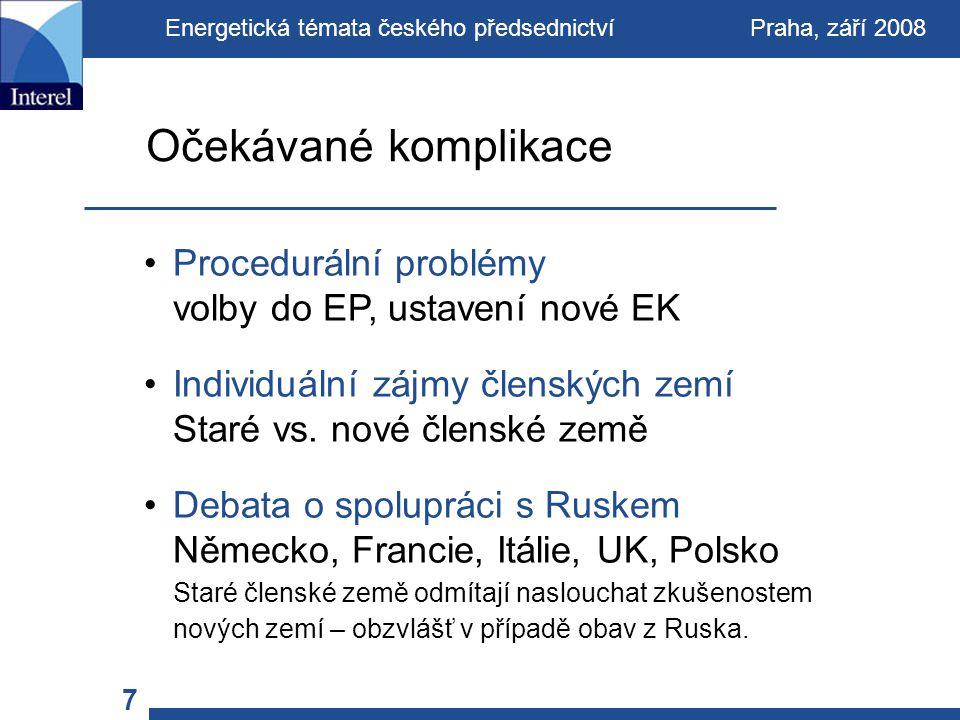 Procedurální problémy volby do EP, ustavení nové EK Individuální zájmy členských zemí Staré vs.