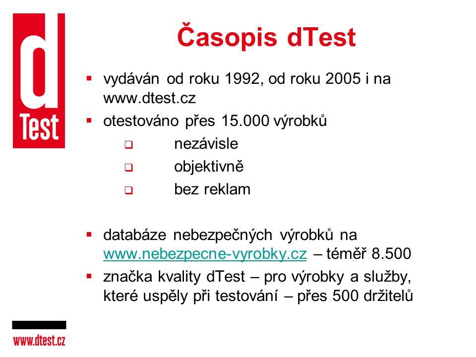 Časopis dTest  vydáván od roku 1992, od roku 2005 i na www.dtest.cz  otestováno přes 15.000 výrobků  nezávisle  objektivně  bez reklam  databáze