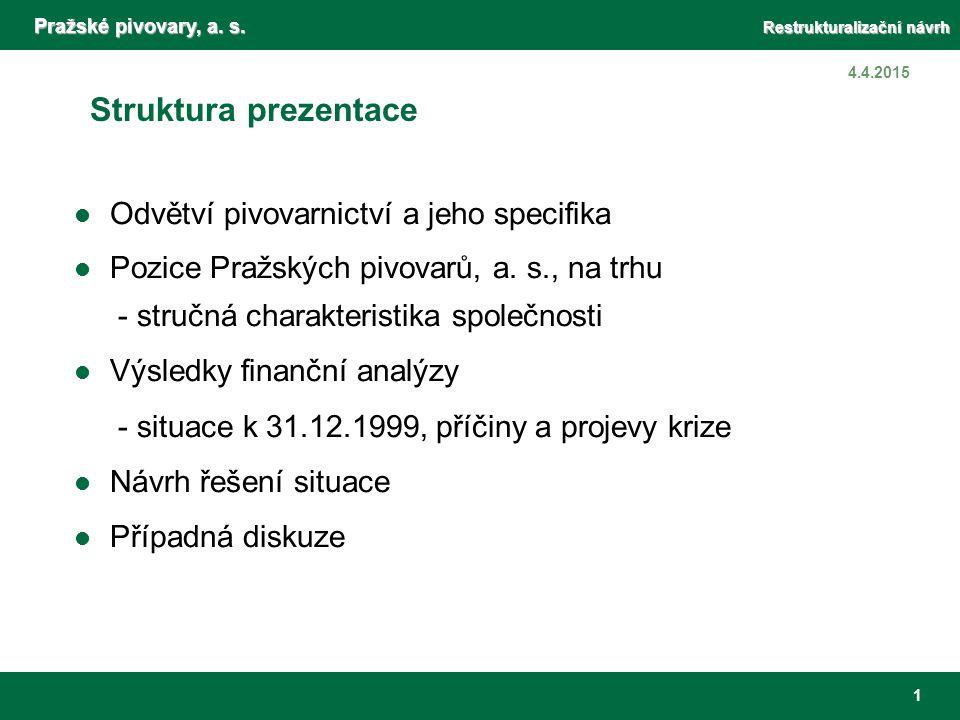 Pražské pivovary, a. s. Restrukturalizační návrh 1 4.4.2015 Struktura prezentace Odvětví pivovarnictví a jeho specifika Pozice Pražských pivovarů, a.