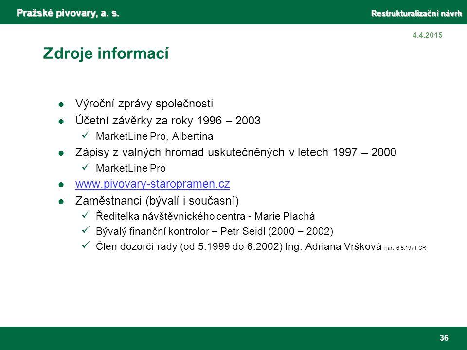 Pražské pivovary, a. s. Restrukturalizační návrh 36 4.4.2015 Zdroje informací Výroční zprávy společnosti Účetní závěrky za roky 1996 – 2003 MarketLine