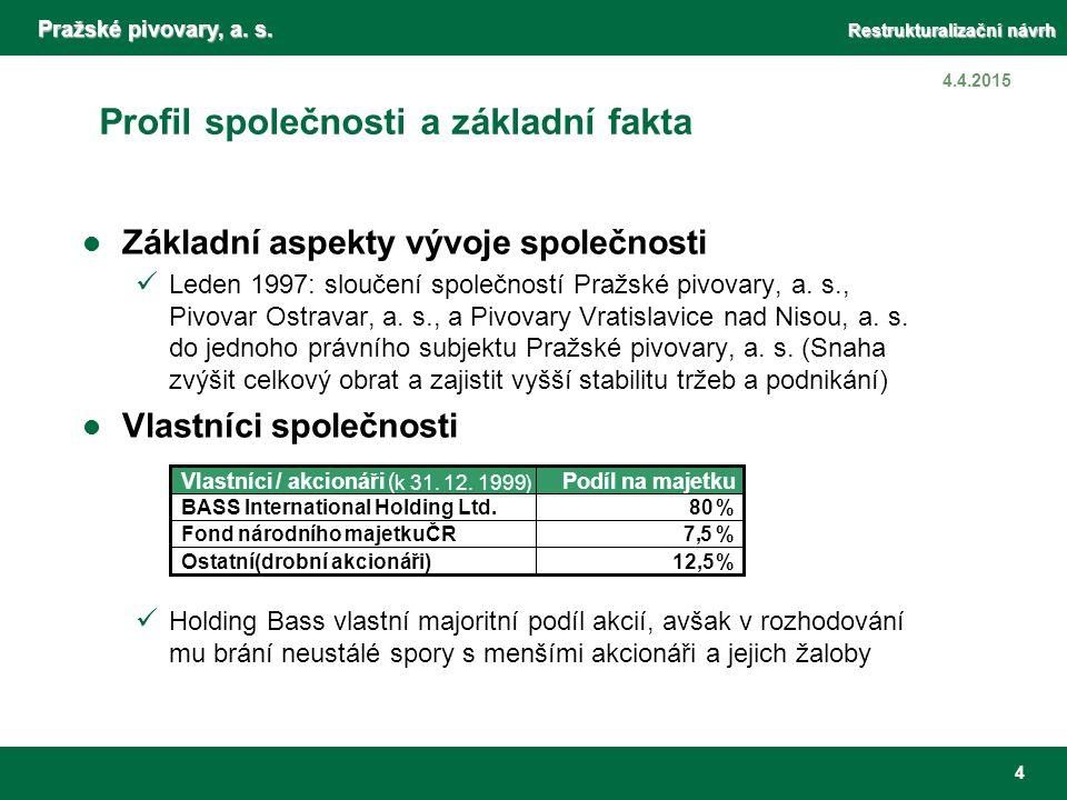 Pražské pivovary, a. s. Restrukturalizační návrh 4 4.4.2015 Profil společnosti a základní fakta Základní aspekty vývoje společnosti Leden 1997: slouče