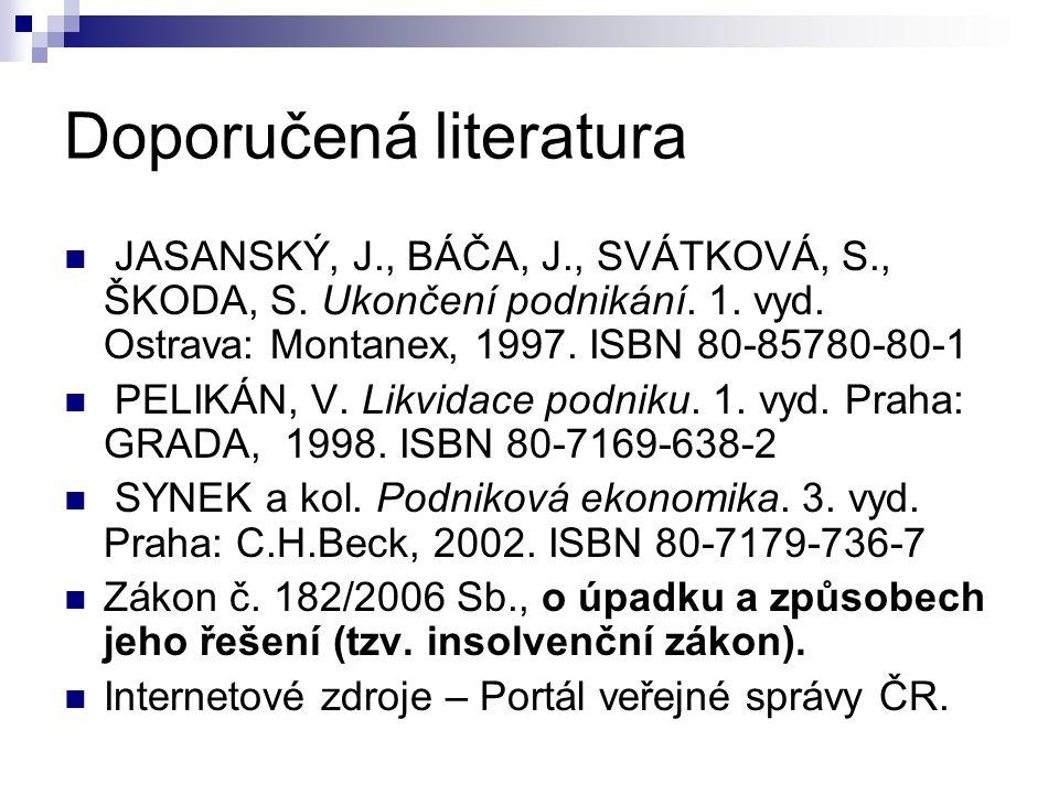 Doporučená literatura JASANSKÝ, J., BÁČA, J., SVÁTKOVÁ, S., ŠKODA, S. Ukončení podnikání. 1. vyd. Ostrava: Montanex, 1997. ISBN 80-85780-80-1 PELIKÁN,