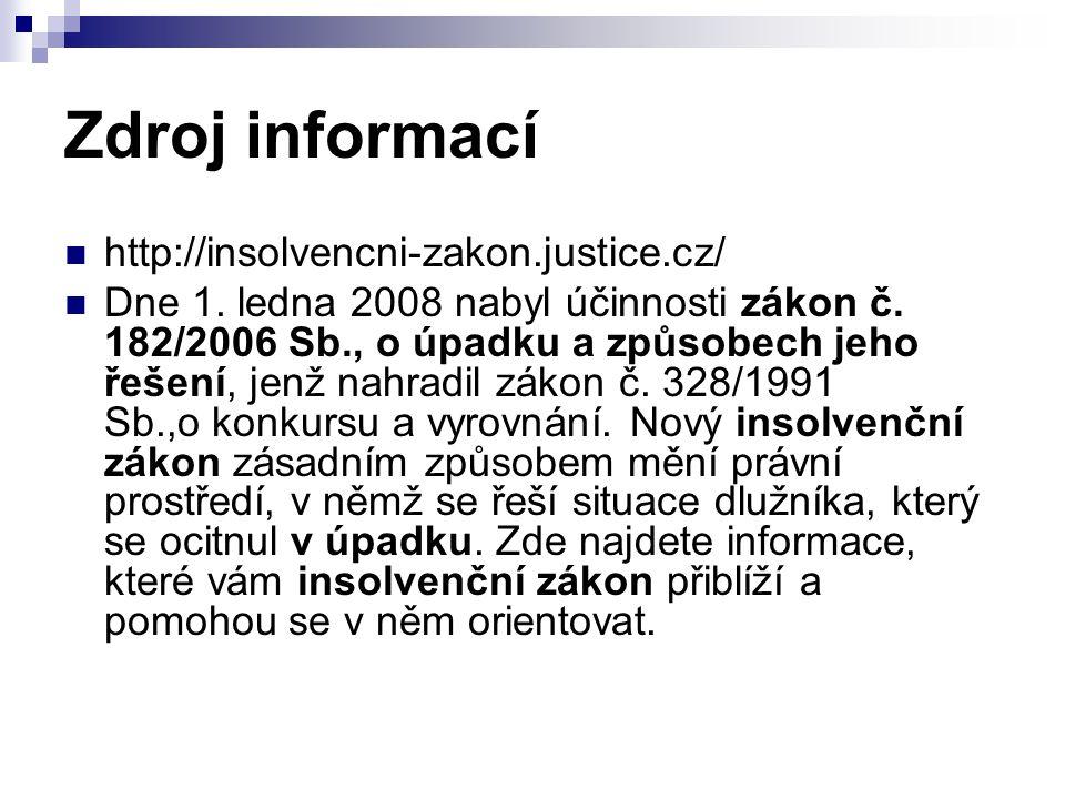 Zdroj informací http://insolvencni-zakon.justice.cz/ Dne 1. ledna 2008 nabyl účinnosti zákon č. 182/2006 Sb., o úpadku a způsobech jeho řešení, jenž n