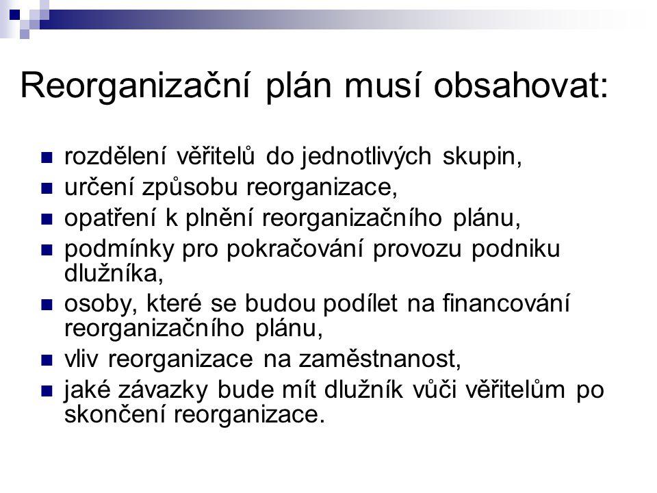 Reorganizační plán musí obsahovat: rozdělení věřitelů do jednotlivých skupin, určení způsobu reorganizace, opatření k plnění reorganizačního plánu, po
