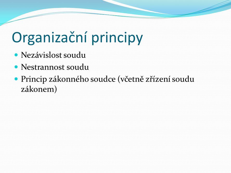 Komponenty práva na spravedlivý proces Právo na přístup k soudu Právo na účinné prostředky nápravy Přiměřená délka řízení Organizační principy Princip