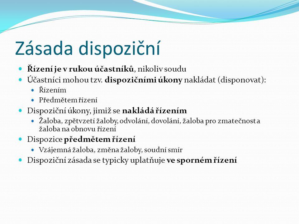 Přehled zásad Zásada dispoziční x zásada oficiality Zásada projednací x zásada vyšetřovací Zásada kontradiktornosti Princip jednoty řízení (arbitrární