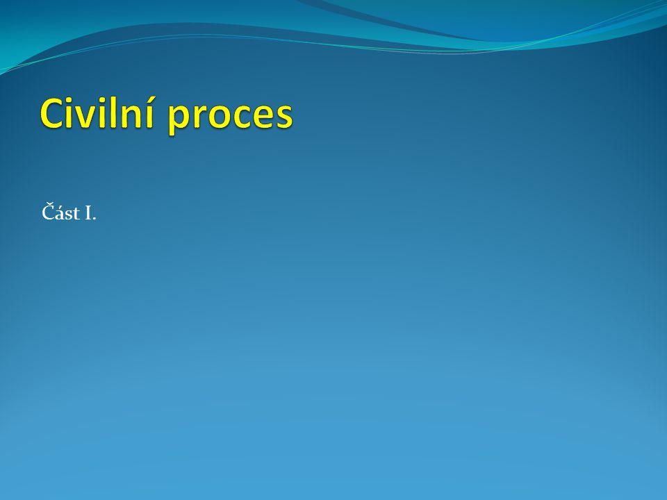 Obsah I.Civilní proces II.Civilní právo procesní III.Právo na spravedlivý proces IV.Principy civilního procesu V.Subjekty civilního procesu VI.Sporné