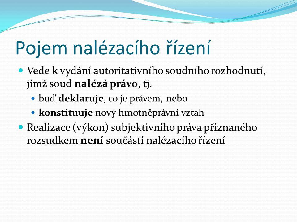 Druhy civilního procesu Nalézací řízení Vykonávací (exekuční) řízení Insolvenční řízení Rozhodčí řízení Zajišťovací řízení