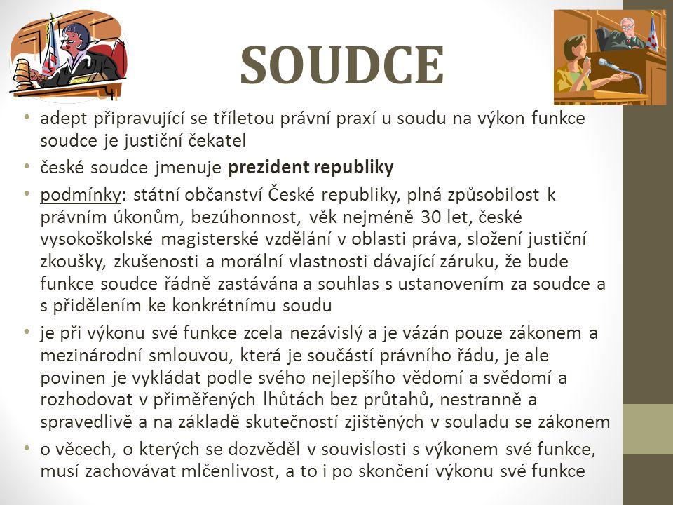 SOUDCE adept připravující se tříletou právní praxí u soudu na výkon funkce soudce je justiční čekatel české soudce jmenuje prezident republiky podmínk