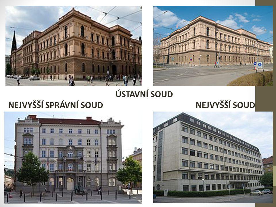 VRCHNÍ SOUDY zřízeny jsou dva – v Praze (96 soudců) a v Olomouci (46 soudců) rozhodují v senátech složených z předsedy senátu a ze dvou soudců jejich jedinou agendou je rozhodování o řádných opravných prostředcích proti rozhodnutím krajských soudů tam, kde tyto soudy rozhodují v prvním stupni – jde zejména o nejzávažnější trestné činy, autorskoprávní a některé obchodní spory, insolvenční řízení nebo o věci ochrany osobnosti