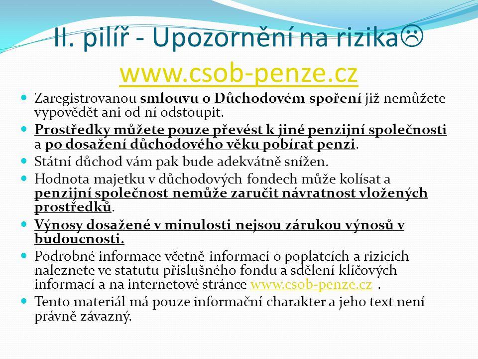 II. pilíř - Upozornění na rizika  www.csob-penze.cz www.csob-penze.cz Zaregistrovanou smlouvu o Důchodovém spoření již nemůžete vypovědět ani od ní o