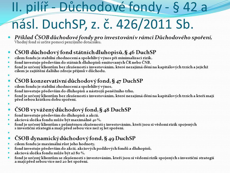 II. pilíř - Důchodové fondy - § 42 a násl. DuchSP, z. č. 426/2011 Sb. Příklad ČSOB důchodové fondy pro investování v rámci Důchodového spoření, Vhodný
