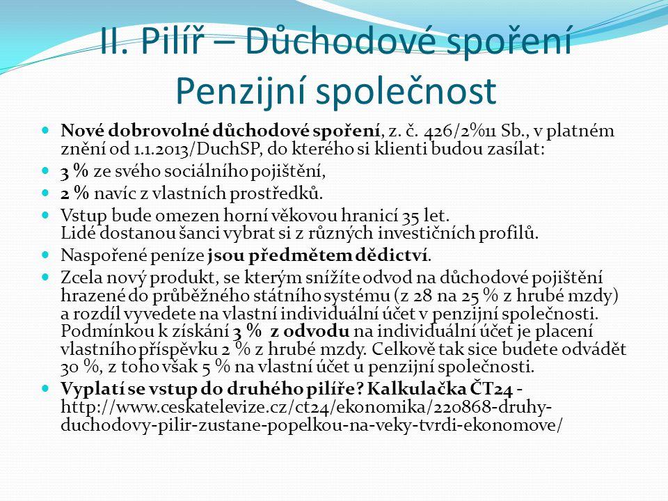 II. Pilíř – Důchodové spoření Penzijní společnost Nové dobrovolné důchodové spoření, z. č. 426/2%11 Sb., v platném znění od 1.1.2013/DuchSP, do kteréh
