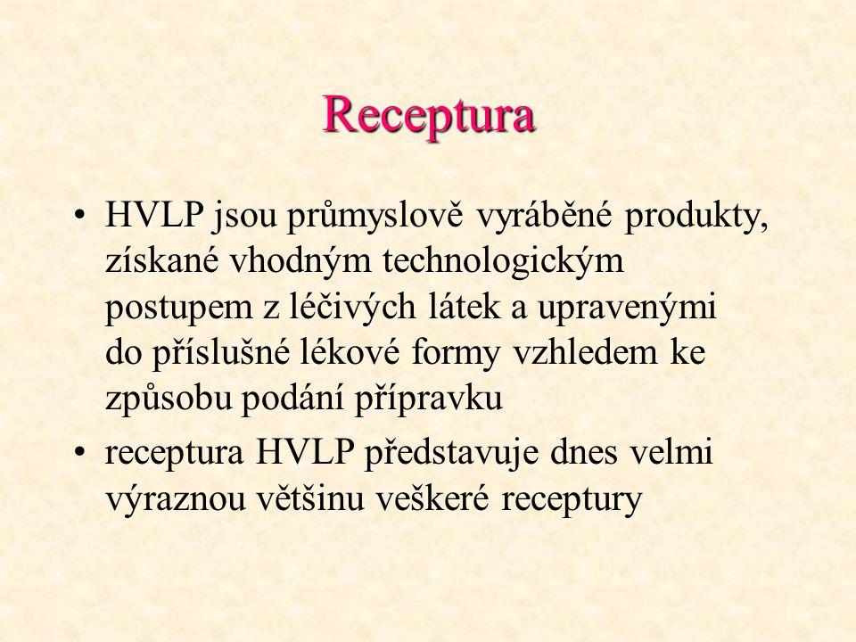 Receptura HVLPHVLP jsou průmyslově vyráběné produkty, získané vhodným technologickým postupem z léčivých látek a upravenými do příslušné lékové formy