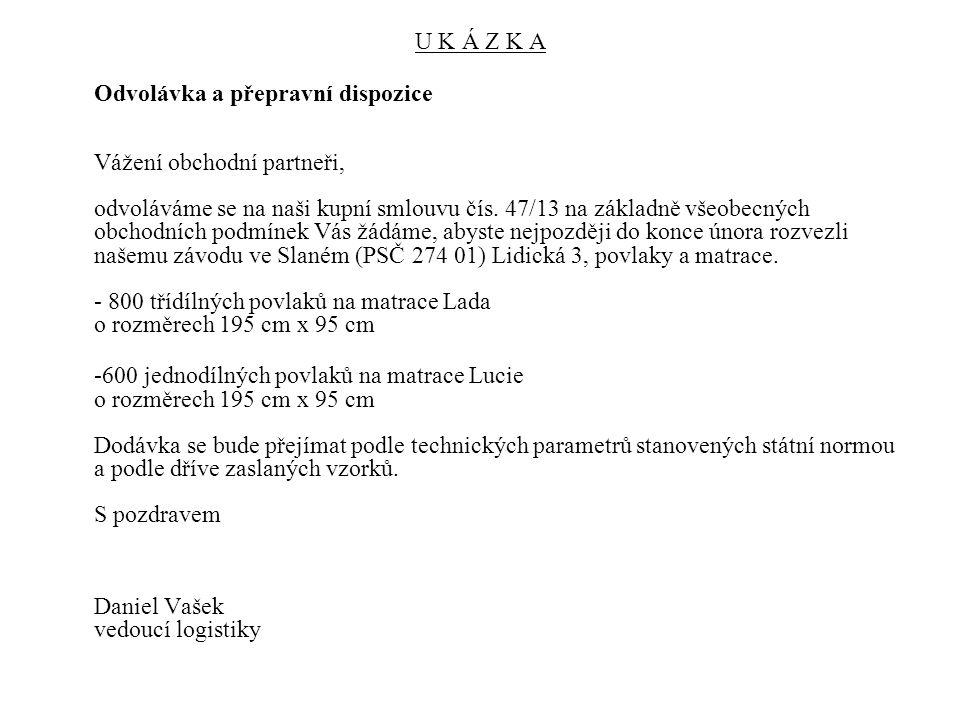 Odvolávka a přepravní dispozice - UKÁZKA Odvolávka a přepravní dispozice Vážení, Na základě dohody v kupní smlouvě č.