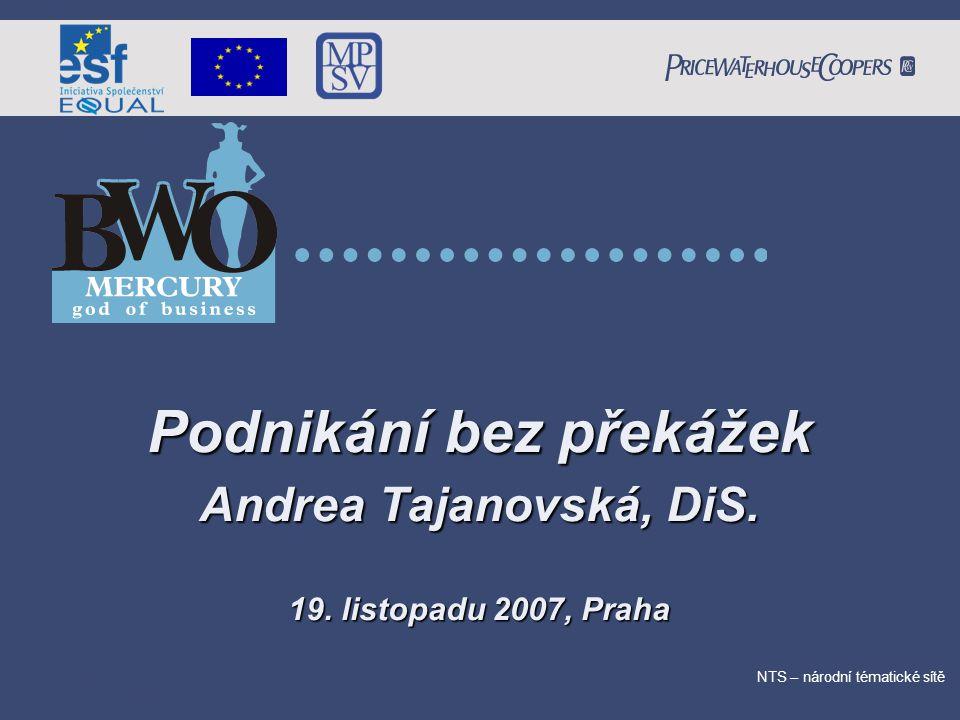 PricewaterhouseCoopers Date NTS – národní tématické sítě Podnikání bez překážek Andrea Tajanovská, DiS.
