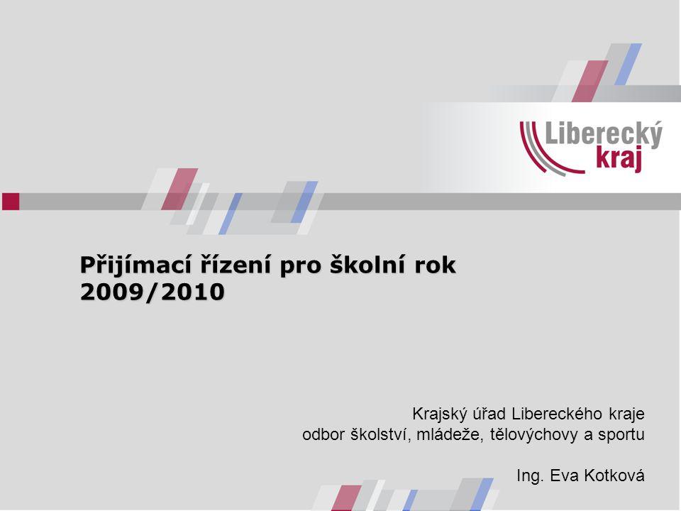 Přijímací řízení pro školní rok 2009/2010 Přijímací řízení pro školní rok 2009/2010 Krajský úřad Libereckého kraje odbor školství, mládeže, tělovýchovy a sportu Ing.