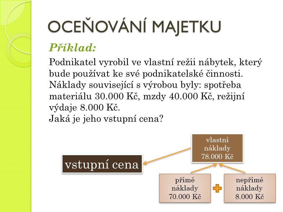 OCEŇOVÁNÍ MAJETKU Příklad: Podnikatel vyrobil ve vlastní režii nábytek, který bude používat ke své podnikatelské činnosti. Náklady související s výrob