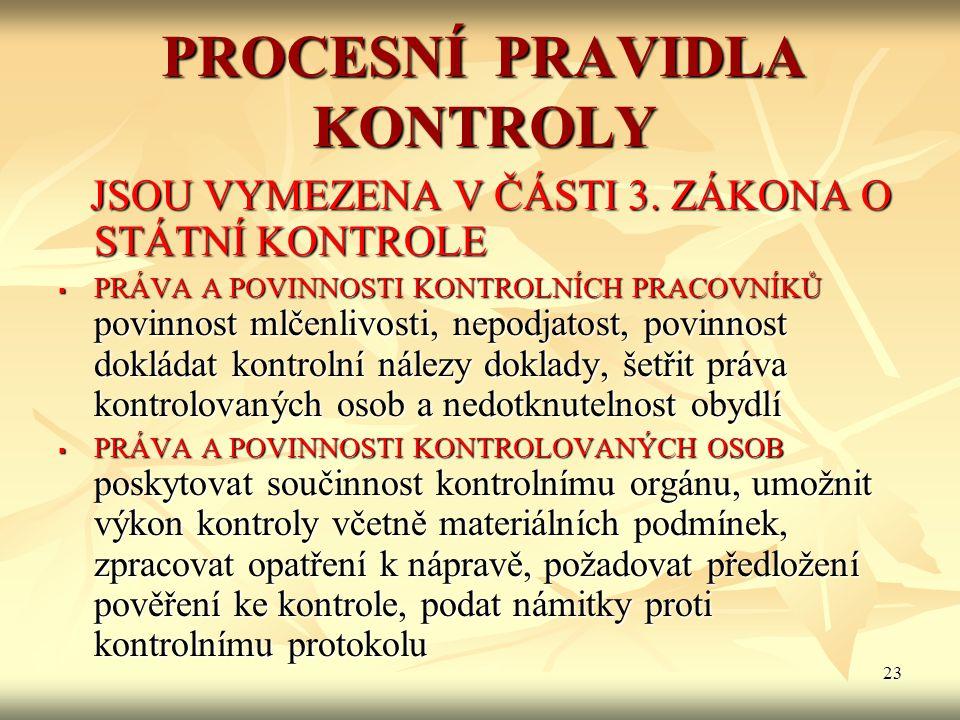 23 PROCESNÍ PRAVIDLA KONTROLY JSOU VYMEZENA V ČÁSTI 3.