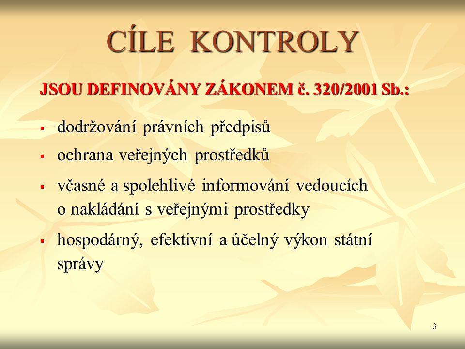 3 CÍLE KONTROLY JSOU DEFINOVÁNY ZÁKONEM č.