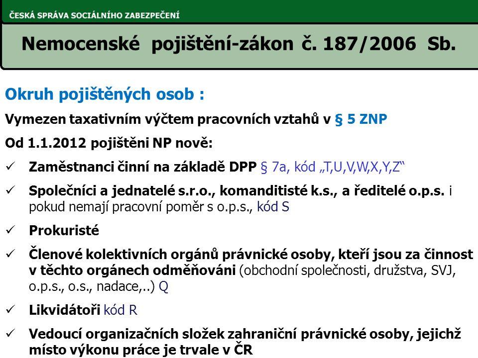 Nemocenské pojištění-zákon č. 187/2006 Sb. Okruh pojištěných osob : Vymezen taxativním výčtem pracovních vztahů v § 5 ZNP Od 1.1.2012 pojištěni NP nov