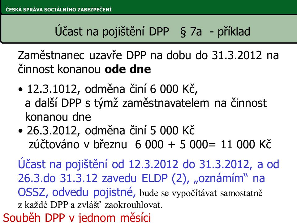 Účast na pojištění DPP § 7a - příklad Zaměstnanec uzavře DPP na dobu do 31.3.2012 na činnost konanou ode dne 12.3.1012, odměna činí 6 000 Kč, a další