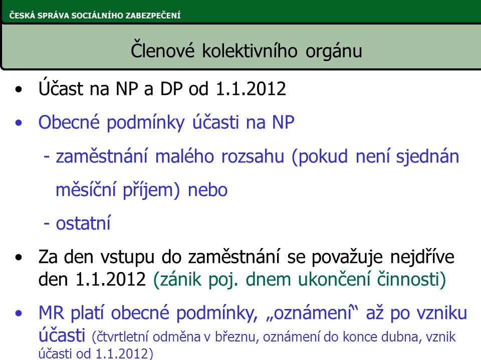 Účast na NP a DP od 1.1.2012 Obecné podmínky účasti na NP - zaměstnání malého rozsahu (pokud není sjednán měsíční příjem) nebo - ostatní Za den vstupu