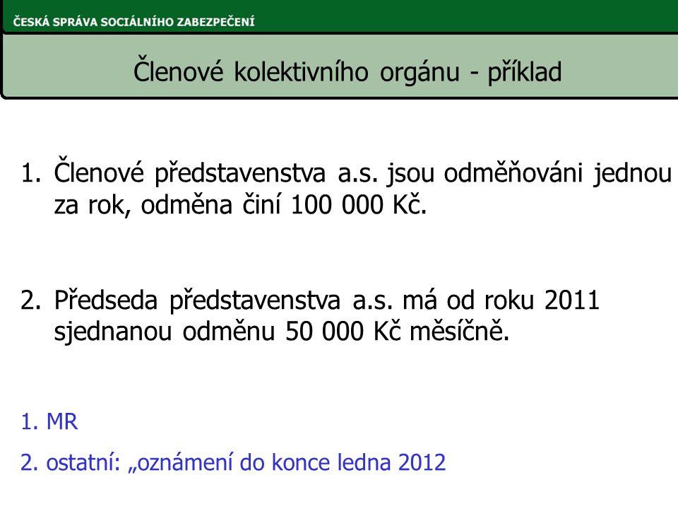 1.Členové představenstva a.s. jsou odměňováni jednou za rok, odměna činí 100 000 Kč. 2.Předseda představenstva a.s. má od roku 2011 sjednanou odměnu 5