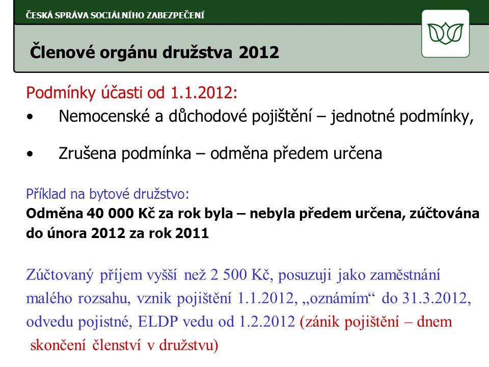 Podmínky účasti od 1.1.2012: Nemocenské a důchodové pojištění – jednotné podmínky, Zrušena podmínka – odměna předem určena Příklad na bytové družstvo: